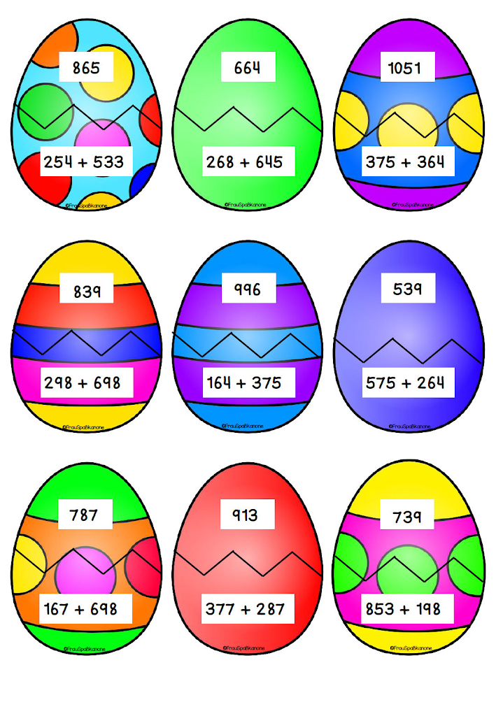 Mathe an Ostern Klasse 3 – Frau Spaßkanone